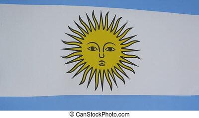 prawdziwy, budowla, bandera, 4k, zamknięcie, argentyna
