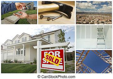 prawdziwy, collage, zbudowanie, stan