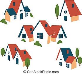 prawdziwy, dom, albo, stan, ikony