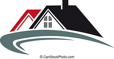 prawdziwy, dom, dach, stan, ikona