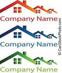 prawdziwy, dom, dach, stan, logo
