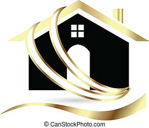 prawdziwy, dom, luksus, stan, logo