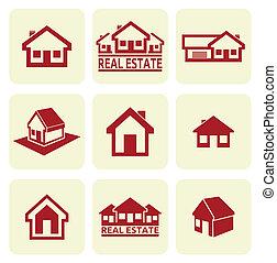 prawdziwy, dom, set., ikony, estate.
