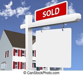 prawdziwy, dom, sprzedany, stan, znak