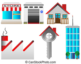prawdziwy, dom, stan, ikony