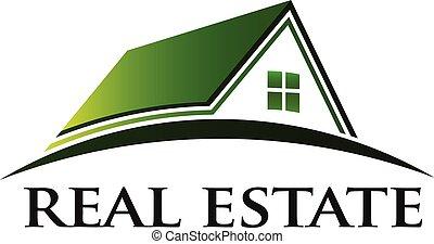 prawdziwy, dom, zielony, stan, logo