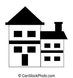 prawdziwy, domowe zbudowanie, stan, ikona