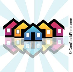 prawdziwy, domy, stan, karta, logo