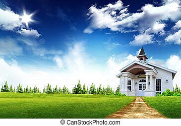 prawdziwy, drewniany dom, wnętrze, stan, -, konceptualny,...