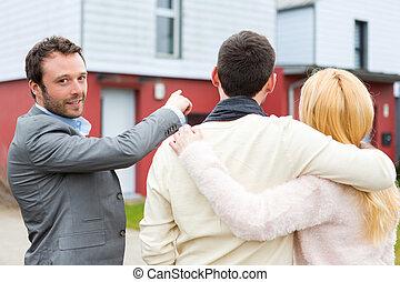 prawdziwy, klientela, pośrednik kupna i sprzedaży nieruchomości, szczegóły, widać