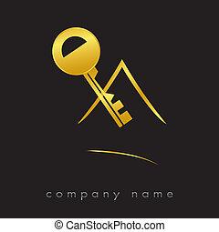 prawdziwy, klucz, logotype, stan