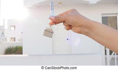 prawdziwy, klucz, stan, ręka