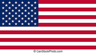 prawdziwy, kolory, bandera, amerykanka, usa