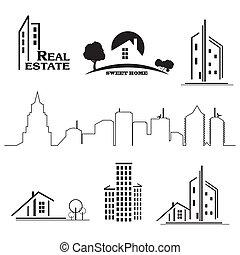 prawdziwy, komplet, stan, handlowe ikony, domy, tło., biały