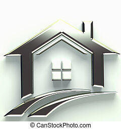 prawdziwy, logo, 3d, stan, dom