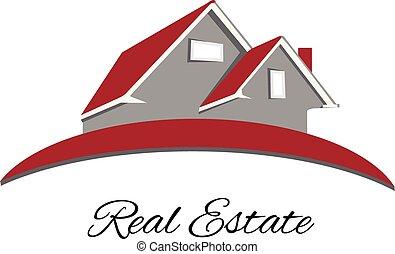prawdziwy, logo, stan, czerwony, dom