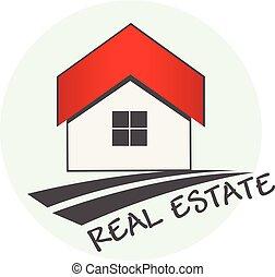 prawdziwy, logo, stan, dom