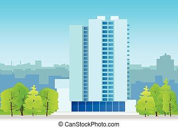prawdziwy, miasto, profile na tle nieba, handlowe biuro, stan, gmach