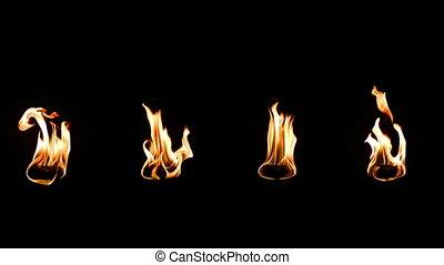 prawdziwy, ogień, backgro, czarnoskóry, odizolowany