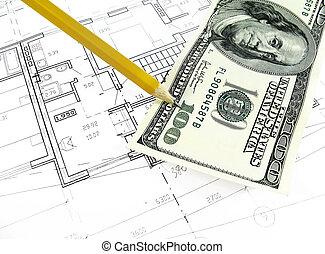 prawdziwy, pojęcie, stan, dom, architektura, -, projekt, technika, plan, architektoniczny, tytułowany, rysunek