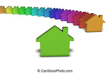 prawdziwy, pojęcie, stan, zielony, dom, ikona