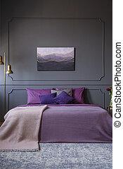prawdziwy, pokój, ściana, fotografia, hotel, łóżko, elegancki, cielna, malarstwo, środek