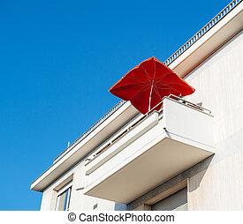prawdziwy, przybudówka, parasol, stan, nowoczesny, sunshade, luksus, czerwony, balkon