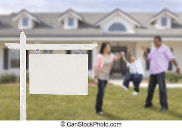 prawdziwy, rodzina, stan, dom, znak, hispanic, czysty, przód