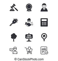 prawdziwy, uzgodnienie, licytacja, stan, icons., sale.
