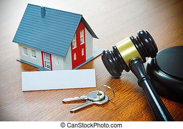 prawdziwy, wykluczenie, dom, stan, handlowy, sprzedaż, licytacja, kupno, gavel.