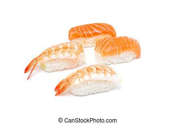 Prawn and salmon nigiri