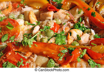 prawn and shrimp with peppers in a rice with seafood