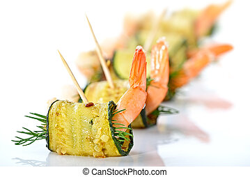 Prawn appetizers - Delicious rolls of fried zucchini slices...