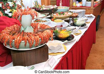 prawn at buffet dinner