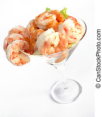 Prawn cocktail - A prawn cocktail in a glass, with salad and...