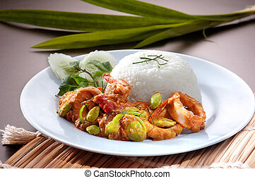Prawn curry served with rice