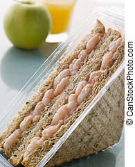 Prawn Marie Rose Sandwich On Granary Bread With An Apple And...