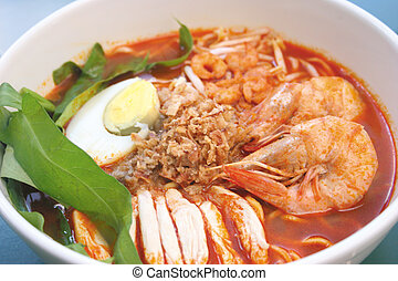 Prawn noodle - Malaysian food spicy noodles