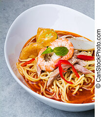 Prawn noodle - Malaysian food spicy noodles.