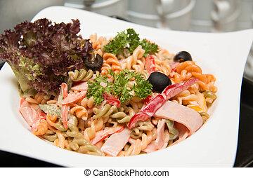 prawn., pastas, blanco, plato, ensalada