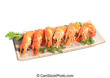 Prawn Platter - Delicious fresh prawns served on a ceramic...