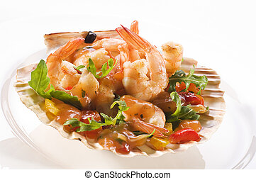 Prawn salad - Fresh sweet and sour prawn salad close up