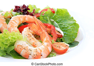 Prawn Salad - Prawn salad, with mixed greens, tomatoes and...