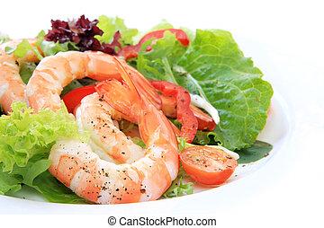 Prawn Salad - Prawn salad, with mixed greens, tomatoes and ...
