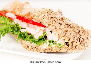 Prawn sandwich on white plate macro
