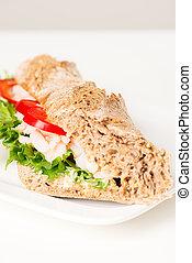 Prawn sandwich on white plate vertical