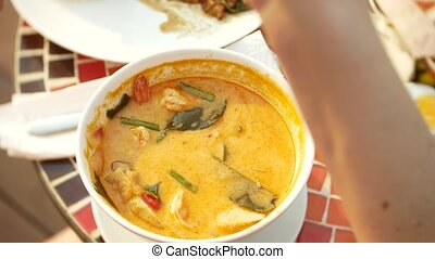 prawn spicy soup is a Thai dish with sour and spicy taste....