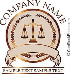prawnik, złoty, prawo, -, sprawiedliwość, skalpy, albo, znak