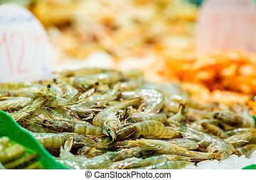 Prawns at seafood market