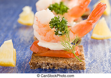 Prawns canapes - photo of delicious starter made of prawns...
